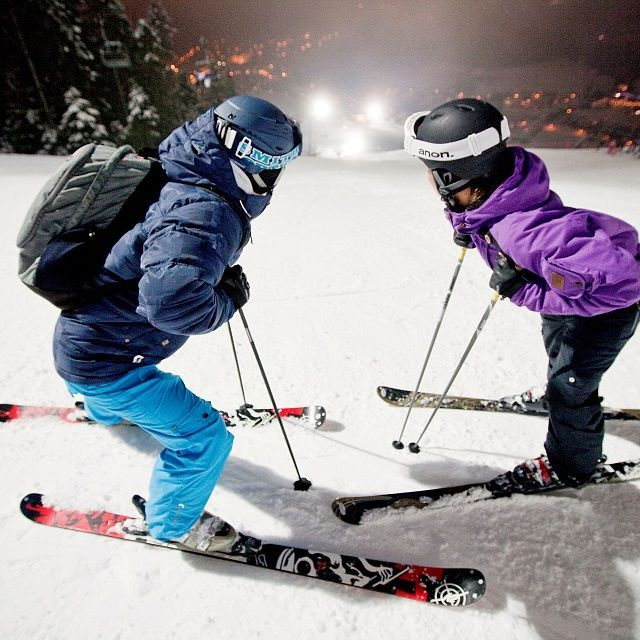 Night-time piste